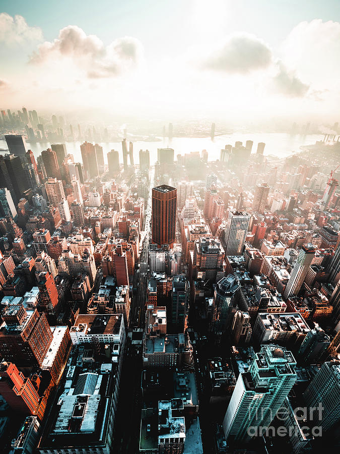 The Streets Of Manhattan As Seen From The Empire State Building Photograph