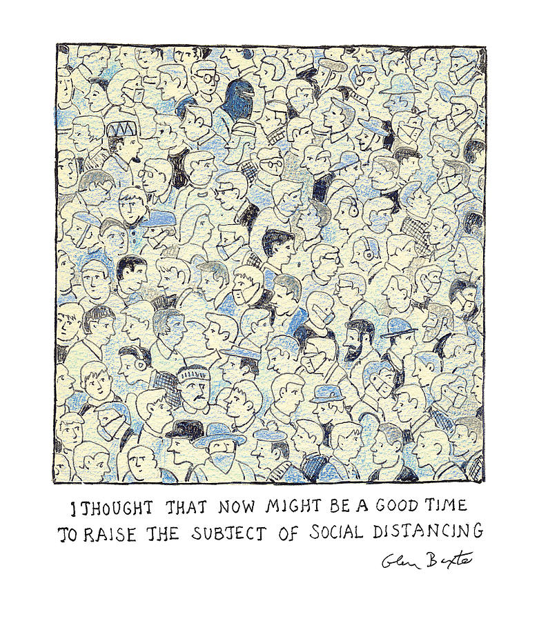 The Subject of Social Distancing Drawing by Glen Baxter