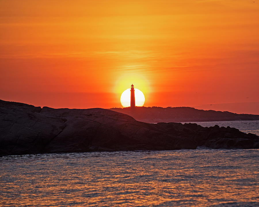 The Sun Rises Behind Thacher Light Rockport MA Lighthouse by Toby McGuire