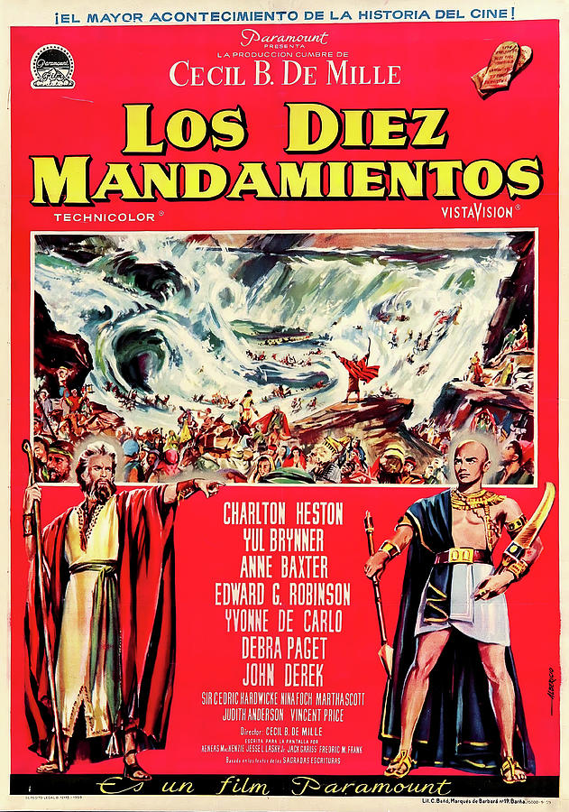 the Ten Commandments - S, With Charlton Heston And Yul Brynner, 1956 Mixed Media