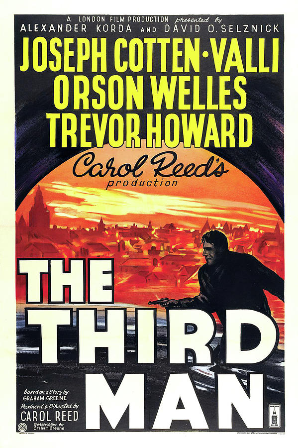 the Third Man Movie Poster, With Orson Welles, 1950 Mixed Media