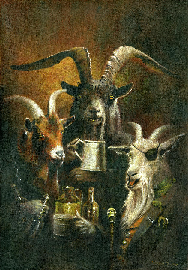 The Three Billy Goats Rough Painting