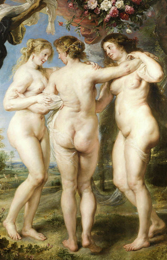 Peter Paul Rubens Painting - The Three Graces, Detail No.1 by Peter Paul Rubens