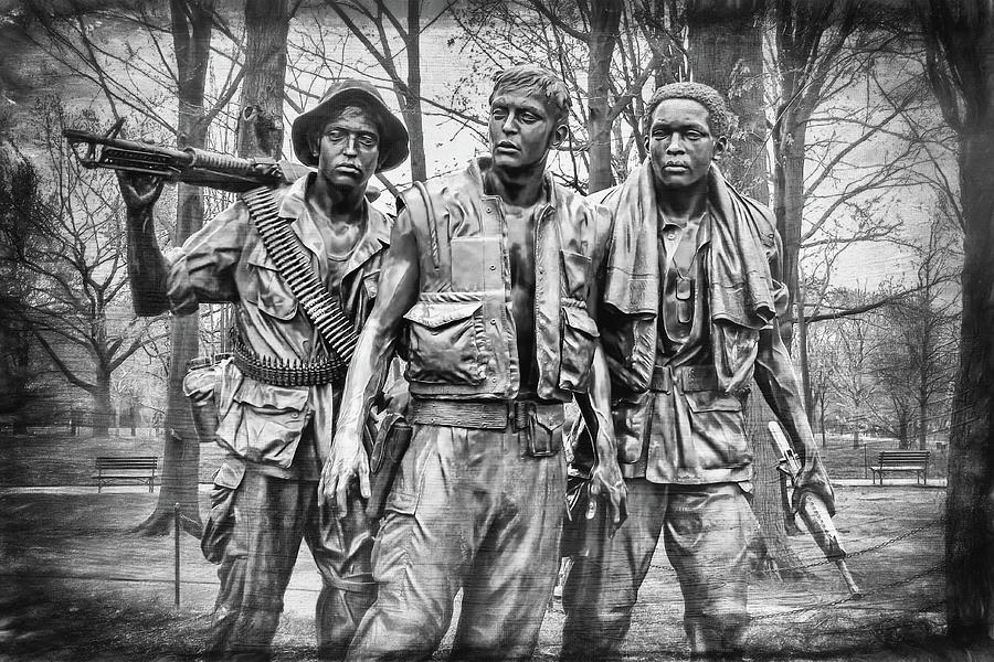 Washington Dc Photograph - The Three Servicemen Vietnam War Memorial Washington DC Black and White by Carol Japp