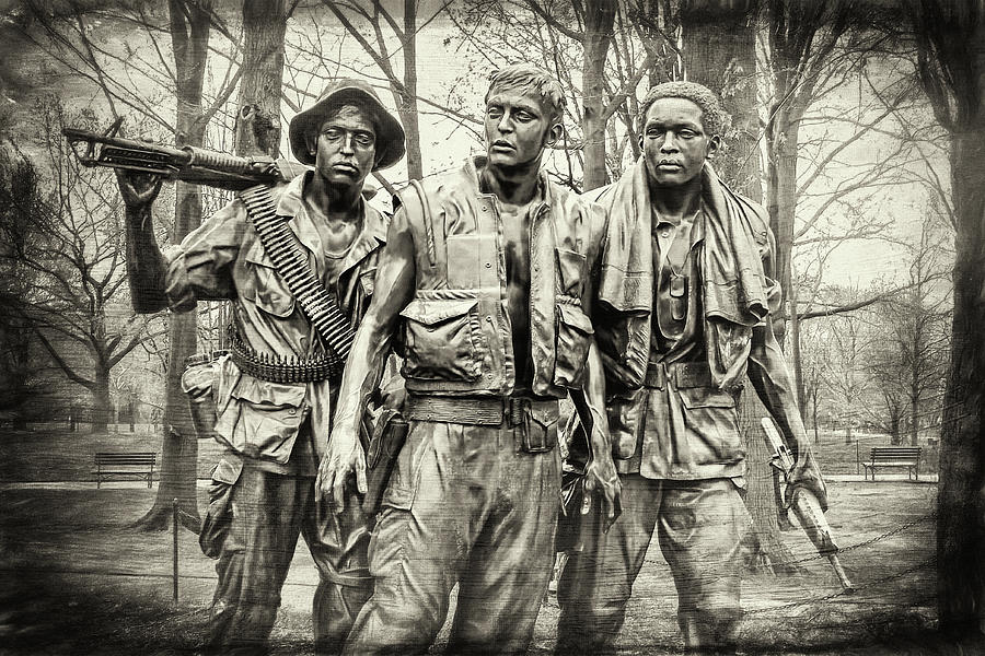 Washington Dc Photograph - The Three Servicemen Vietnam War Memorial Washington DC Vintage  by Carol Japp