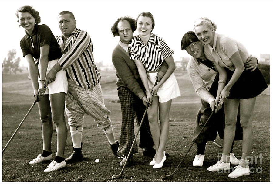 The Three Stooges Photograph - The Three Stooges, Curly, Larry and Moe with the Girls, Golf  by Thomas Pollart