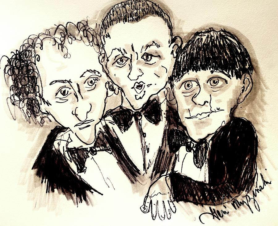 The Three Stooges Mixed Media - The Three Stooges by Geraldine Myszenski