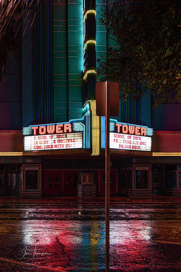 Rain Photograph - The Tower Theater 1 by Jim Thompson