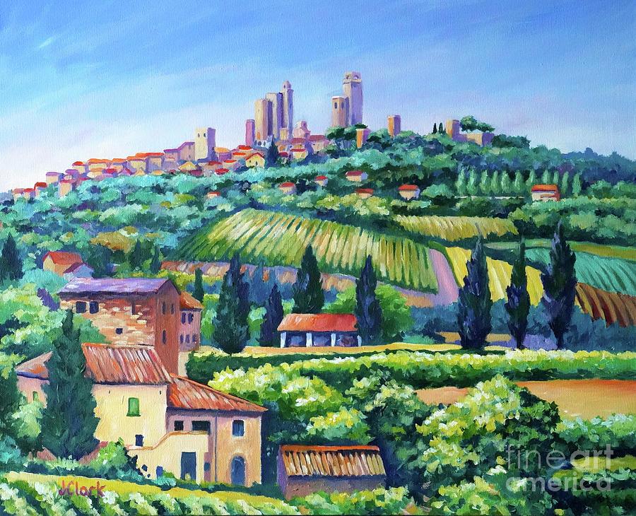 Italy Painting - The Towers of San Gimignano by John Clark
