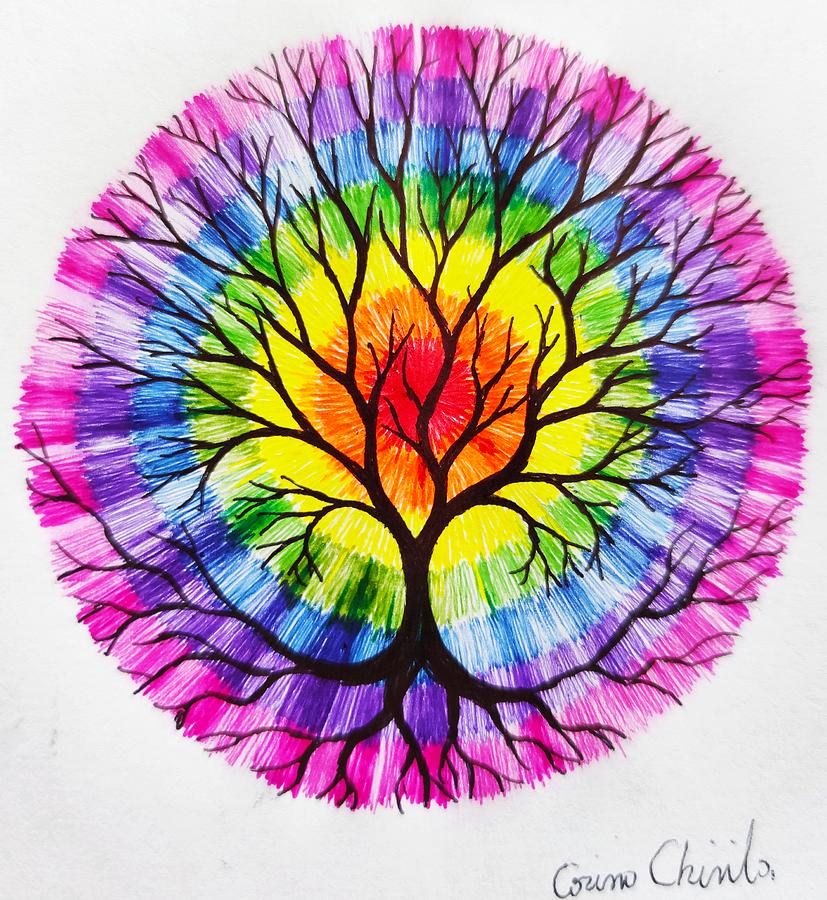 Tree Of Life Drawing - The tree of life and the colors of the rainbow by Chirila Corina