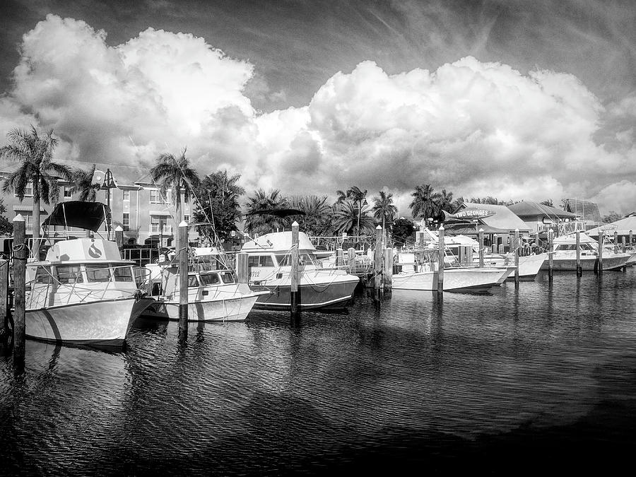 The Two Georges Marina in Black and White by Debra and Dave Vanderlaan