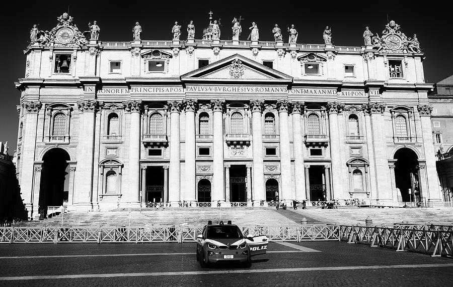 The Vatican from St. Peter's Sqaure Black and White by Shawn O'Brien