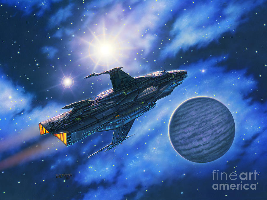 Spaceship Painting - The Verrhawk At Jovox by Stu Shepherd