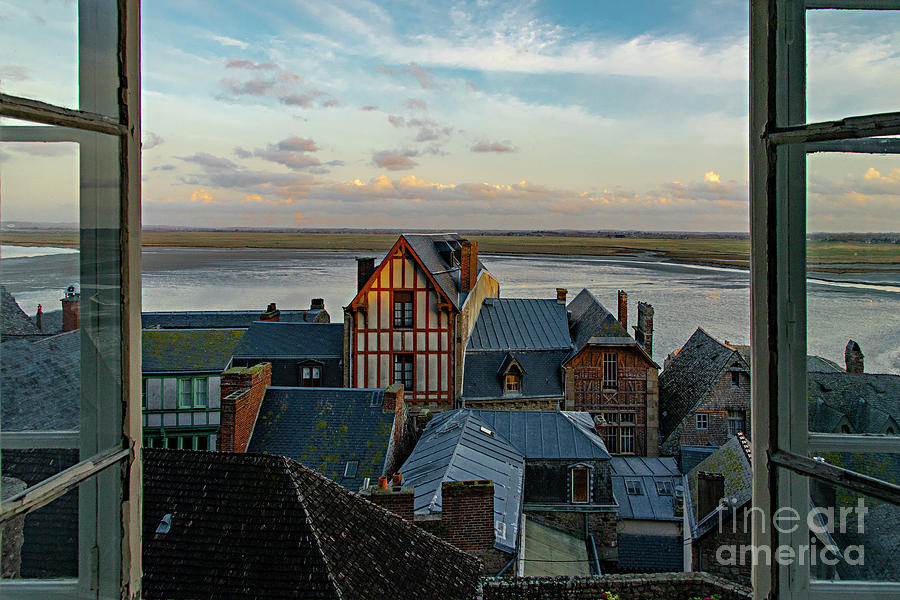 The View From Our Hotel Room in the Castle Mont Saint Michel Normandy France II by Wayne Moran