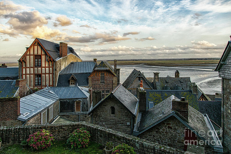 The View From Our Hotel Room in the Castle Mont Saint Michel Normandy France by Wayne Moran