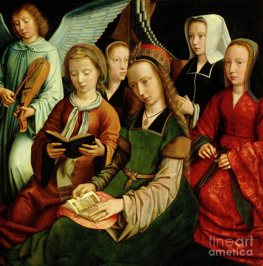 St Painting - The Virgin Among The Saints, Detail by Gerard David