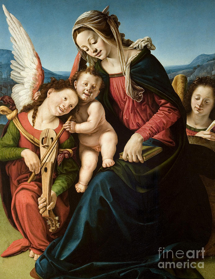Cosimo Painting - The Virgin and Child with Two Angels by Piero di Cosimo