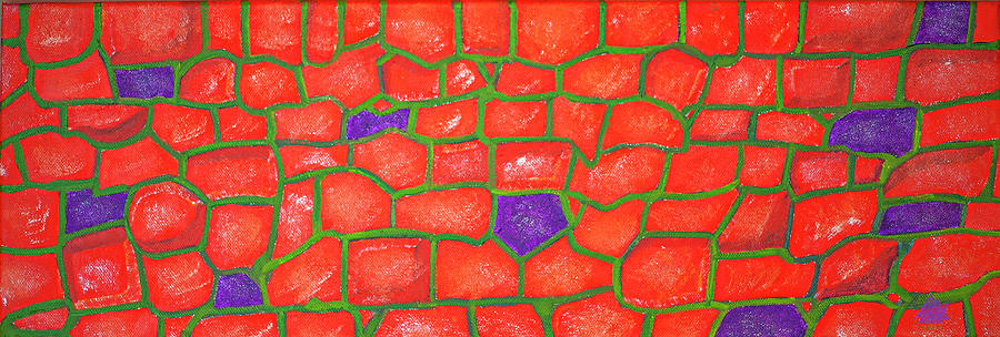 Abstract Oil Painting Of A Stone Wall. Painting