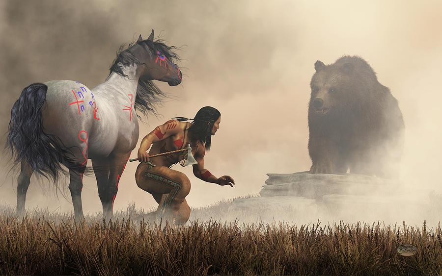 The Warrior And The Bear Digital Art