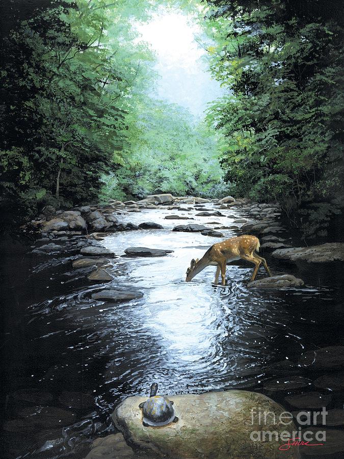 Deer Painting - The Watercooler by Harold Shull