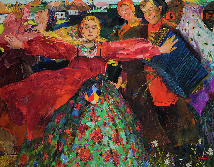 Peasant Women Painting - The Whirlwind, 1905 by Filipp Malyavin
