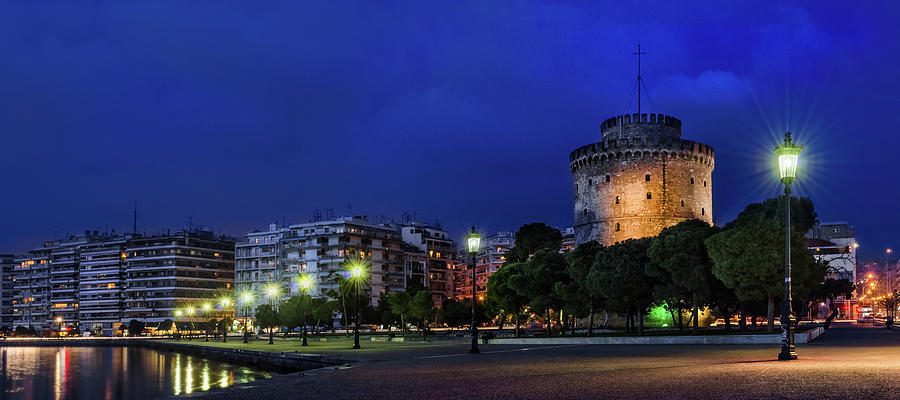 The White Tower Of Thessaloniki Night View Photograph