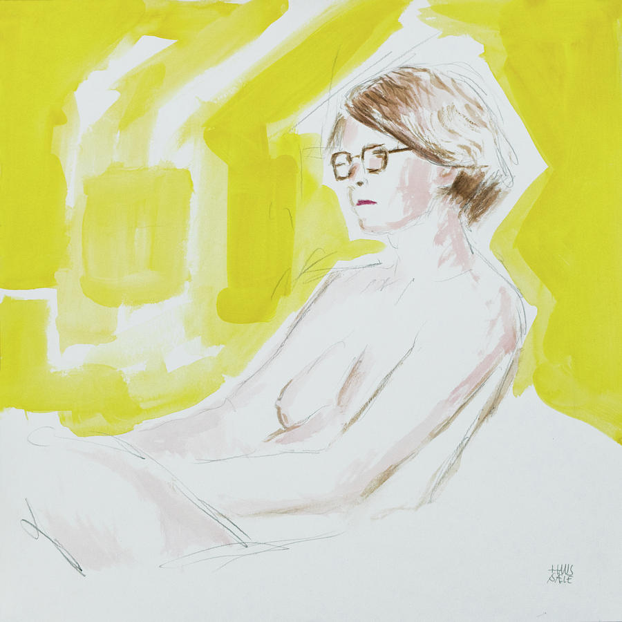 Figure Painting in Yellow by Hans Egil Saele