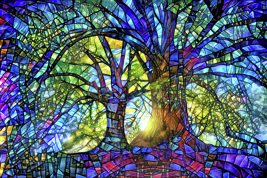 Stained Glass Digital Art - The Worship of Trees by Peggy Collins