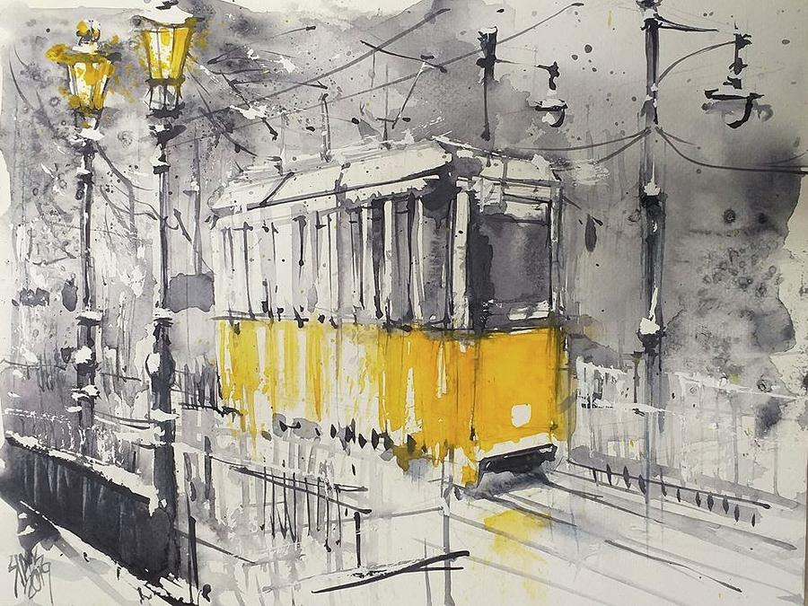 The Yellow Tram Painting