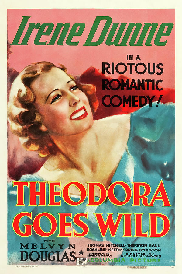 theodora Goes Wild Movie Poster, With Irene Dunne, 1936 Mixed Media