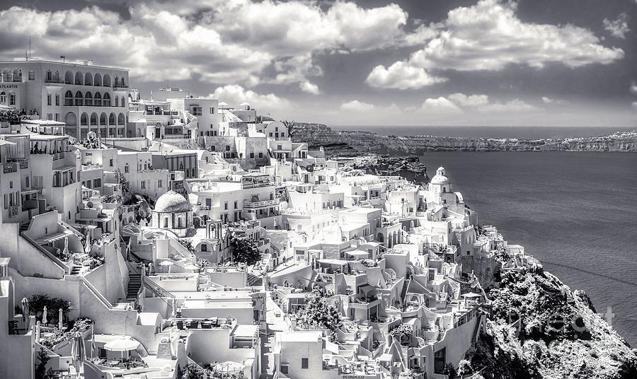 Thera Photograph - Thera - Fira City on Santorini - Greece BW by Stefano Senise