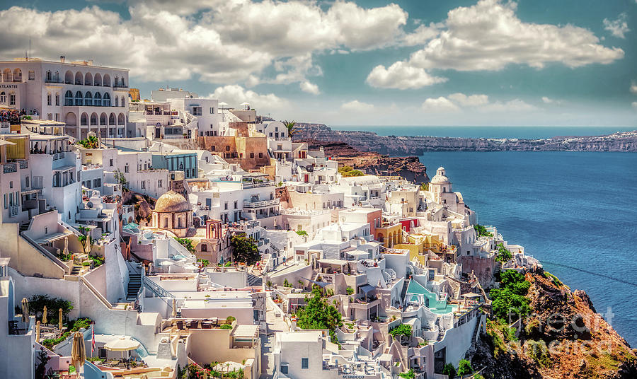 Thera Photograph - Thera - Fira City on Santorini - Greece by Stefano Senise
