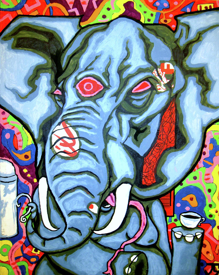 Elephant Painting - They Dont Share Ming Tea by Jacob Wayne Bryner