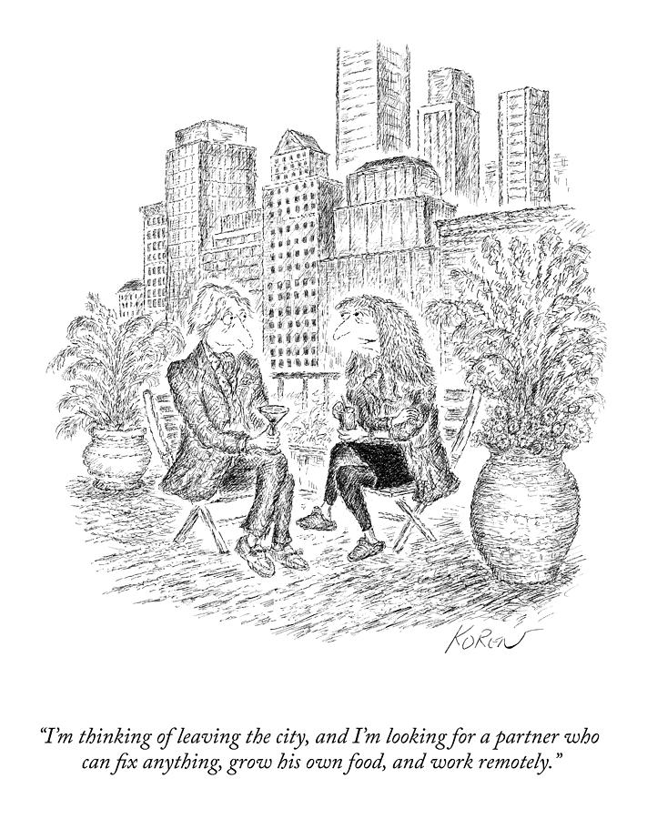 Thinking Of Leaving The City Drawing by Edward Koren