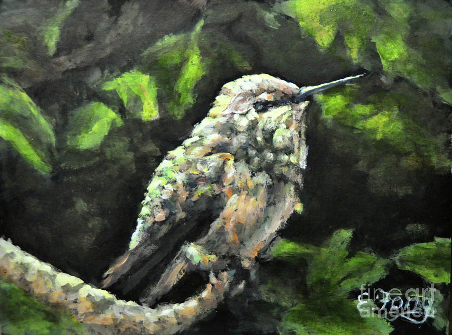 Hummingbird Painting - This Hummingbird Loves my Green Tree Maple by Eileen  Fong