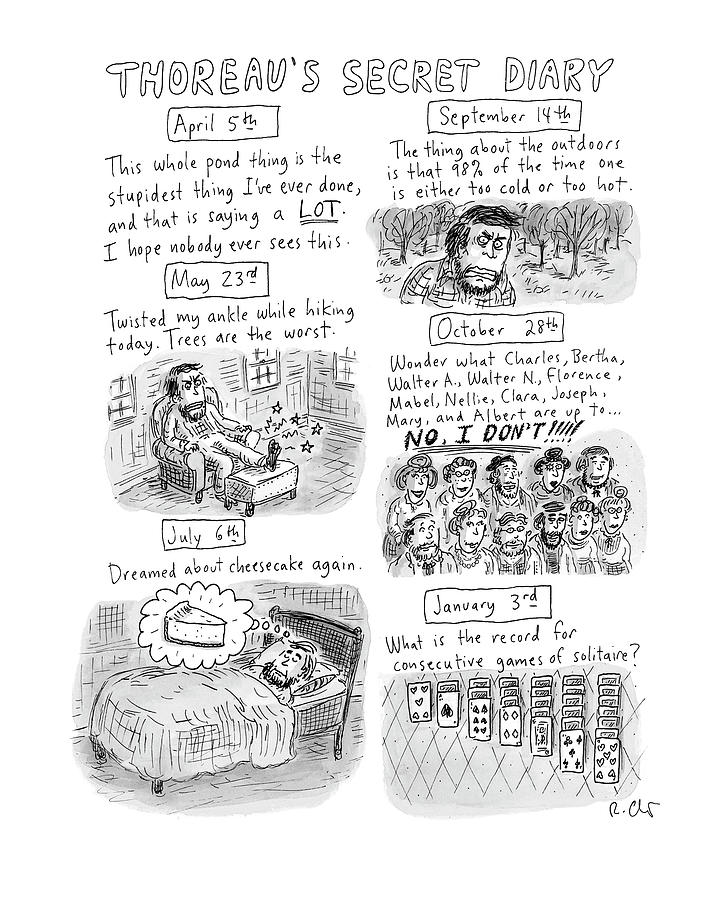 Thoreaus Secret Diary Drawing by Roz Chast