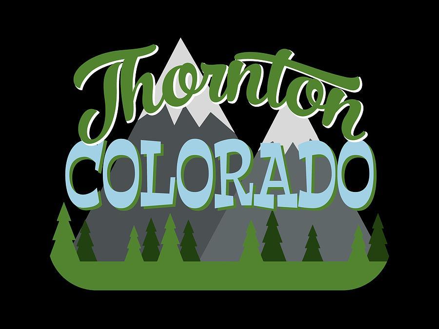 Thornton Digital Art - Thornton Colorado Retro Mountains Trees by Flo Karp