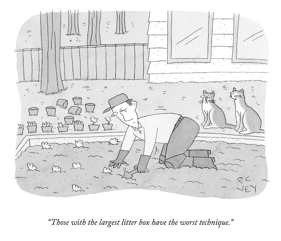Those With The Largest Litter Box Drawing by Peter C Vey