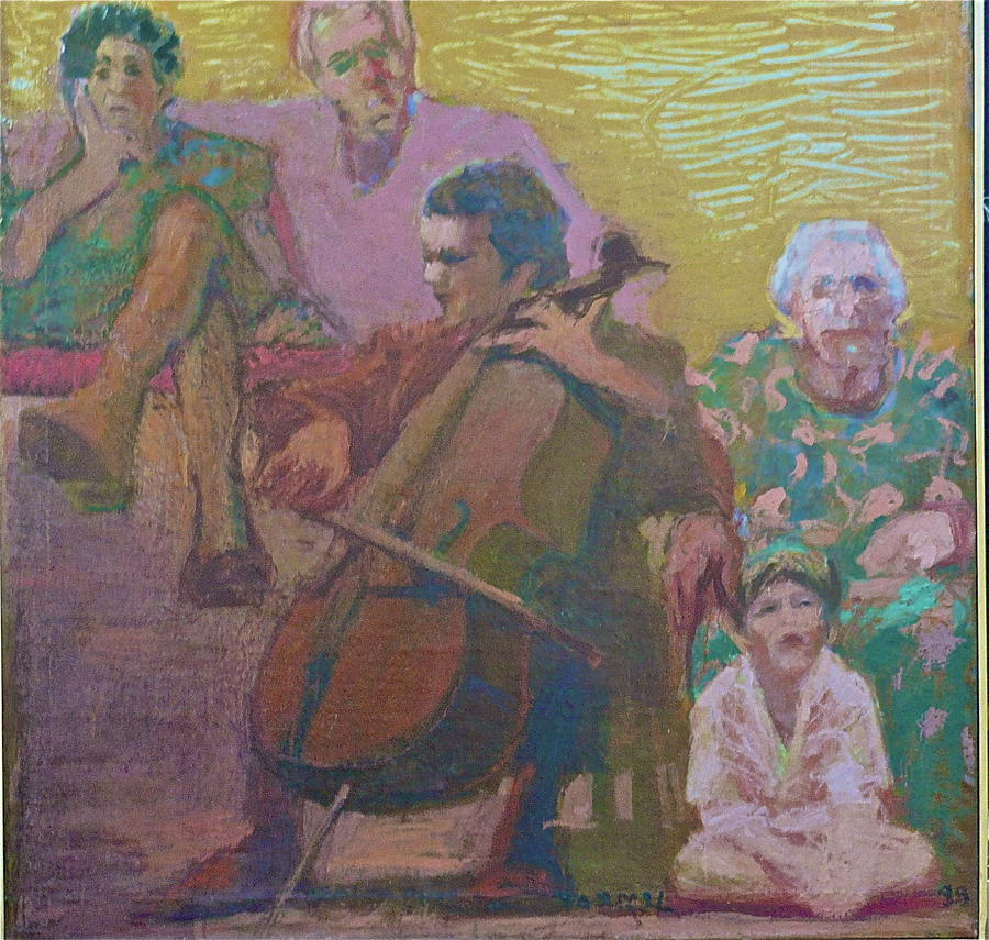 Cellist Painting - The Cello Concert by Galya Tarmu