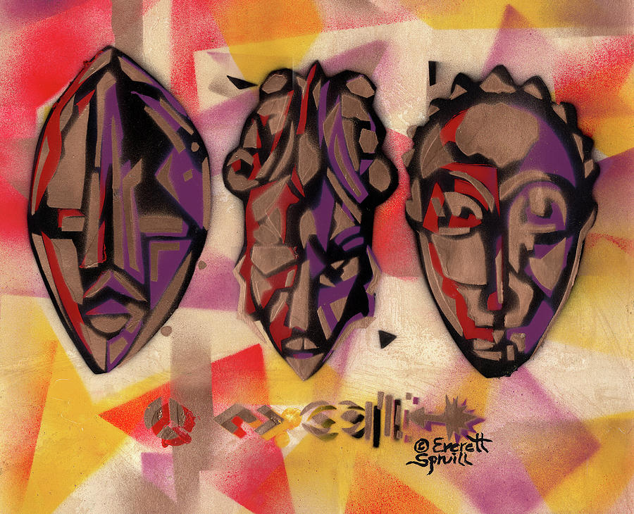Three African Masks by Everett Spruill