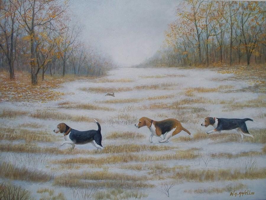 Animals Painting - Three Beagles and a bunny by William Ravell