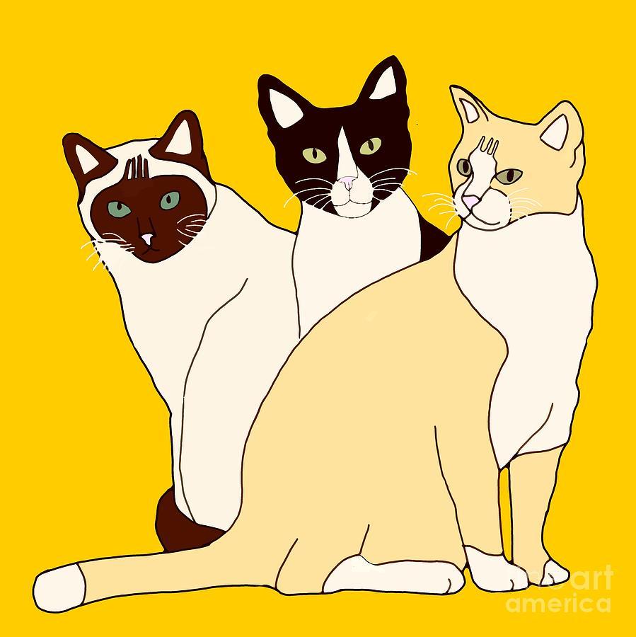 Three Big Cats Digital Art