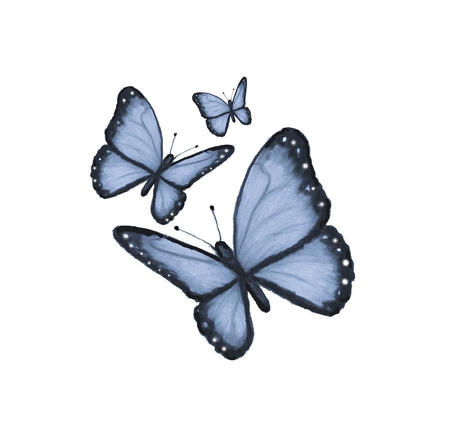 Butterflies Drawing - Three Blue butterflies by Joyce Geleynse