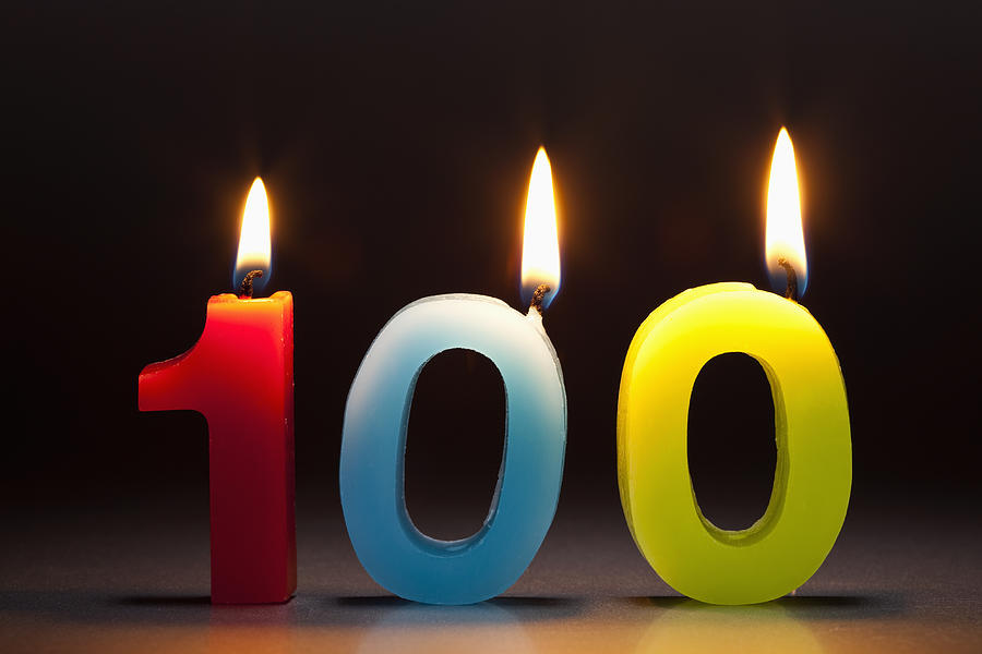 Three Candles In The Shape Of The Number 100 Photograph by Caspar Benson