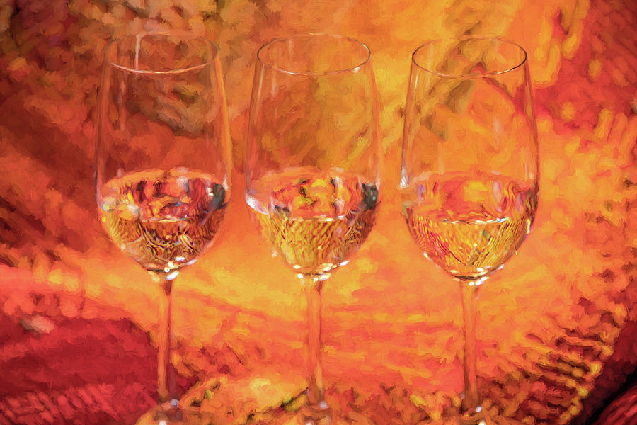 Three Champagne Glasses by David Letts