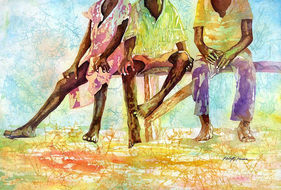Ghana Painting - Three Children of Ghana by Hailey E Herrera