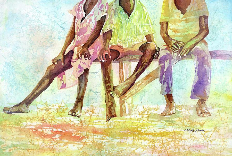 Three Children Of Ghana-pastel Colors Painting