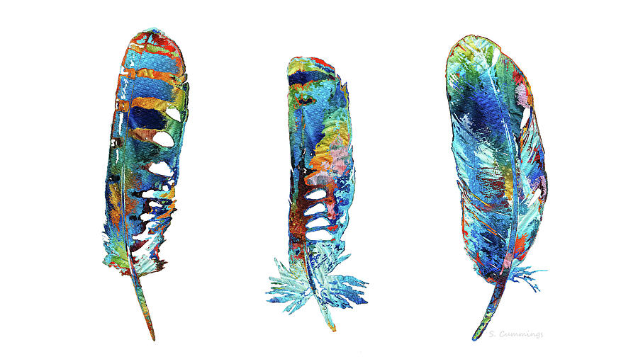 Feather Painting - Three Colorful Feathers - Sharon Cummings by Sharon Cummings