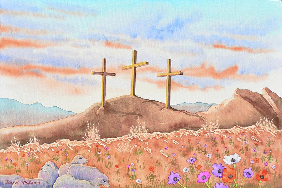 Watercolor Painting - Three Crosses by Brad McLean