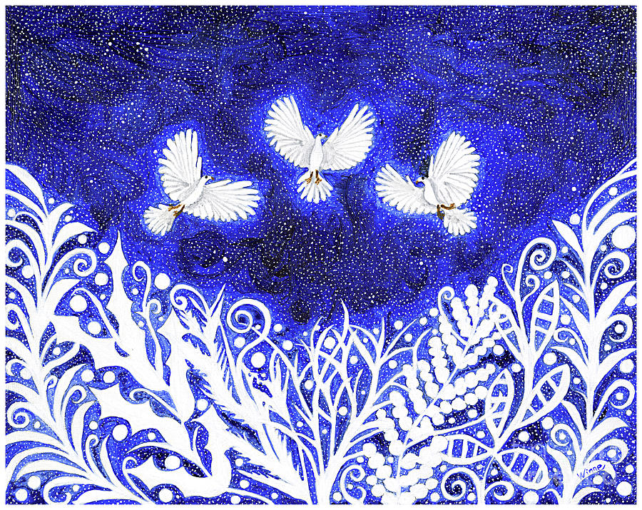 Three Doves Flying Over the Lace by Lise Winne